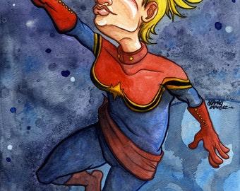 Captain Marvel, Avengers, Marvel Comic Superhero, Original Watercolor Painting