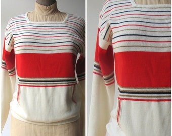 Holiday Sweater with pockets / Womens Striped Sweater / Retro Vintage Top with pockets 1960s 1970s