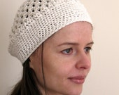Wide Band Kingston Cap Cream -  Handmade Crochet Beanie - Super Soft Eco-Freindly Bamboo and Wool Hat