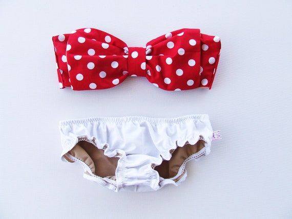 Vintage Bow Bikini Bandeau Sunsuit Cotton .DiVa Halter Neck. Red White Polka Dot  top White Panties. Sexy cute Pin up Style ALL COTTON