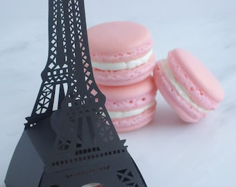 Wedding Favors Macaron Favors Paris Wedding Eiffel Tower Favor Box and (1) French Macaroon