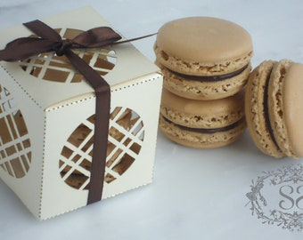 Wedding Favor French Macaron Favor Box and (2) French Macaroons