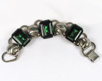 Vintage Silver & Emerald Cut Glass Stone Bracelet - Very Unique