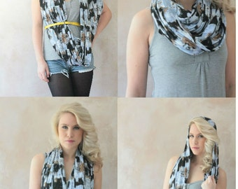 Infinity scarf - Circle scarf, Loop scarf, Jersey scarf, Tube scarf, Snood, T-Shirt scarf - Abstract Printed scarf