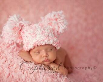 CLEARANCE Baby Girl Hat CUTE Newborn Baby  Girl  Crochet knit Chunky Double Pom Pom / Sack Hat Boy & Girl colors