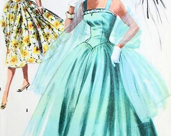 1950s McCalls 3399 EVENING PARTY DRESS Pattern Formal Camisole Bodice Full Skirt, Bombshell Style Vintage Sewing Pattern