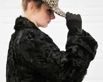 1930s Stein Brothers Black Persian Lamb Coat With Large Open Cuffs and Standup Collar