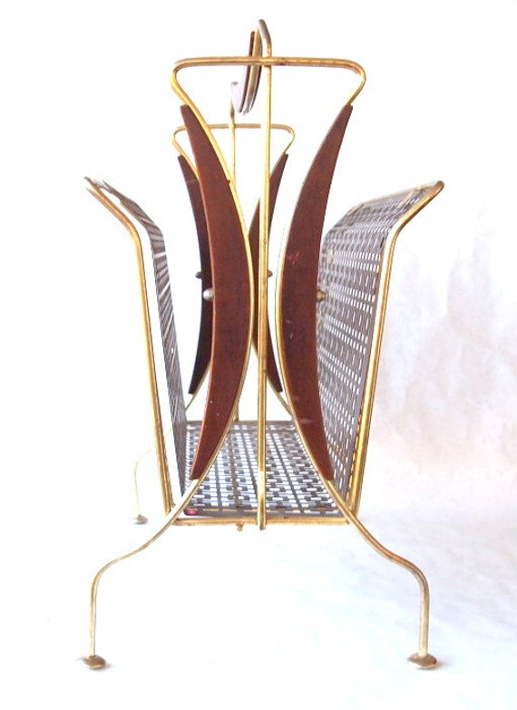 Vintage Retro Mid Century Brass Magazine Rack, Brown and Gold Metal