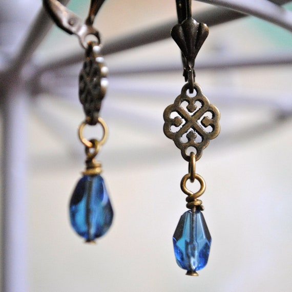 Blue Glass & Victorian Charm Earring - fall 2012, faceted bead, leverback