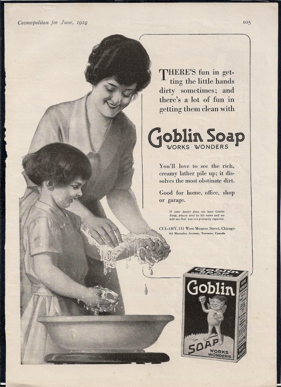antique goblin soap ad haunted bathroom decor 1919
