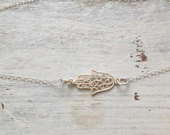 Hamsa bracelet, sideway hamsa, silver bracelet, silver hamsa, hamsa jewelry, delicate bracelet, luck jewelry, anklet , gold filled 113