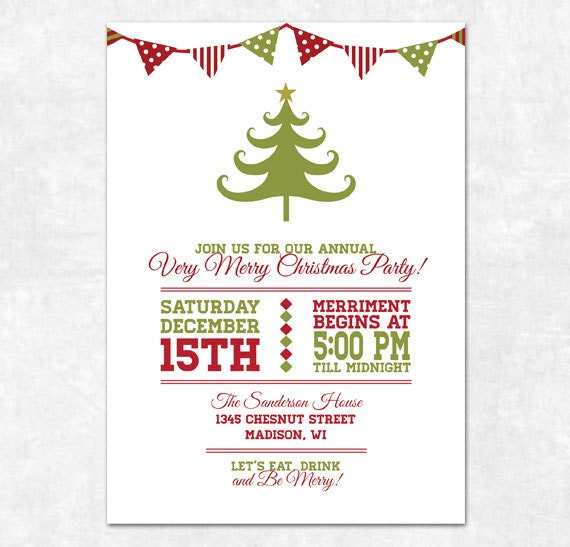 Items similar to Printable Christmas Invitation Holiday Bunting – Printable Christmas Party Invitation