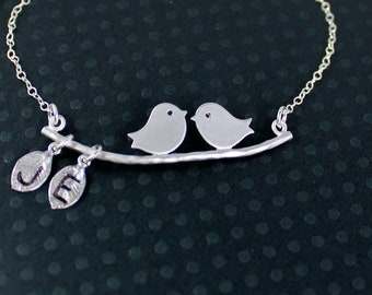 Love Birds Bracelet - Personalized Hand Stamped Initials Pendant with Leaves and Sterling Silver Chain Branch Bracelet