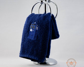 Doctor Who TARDIS Inspired - Embroidered Hand Towel