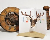 Reindeer Pop up Christmas Card - Watercolour print - Hand cut and folded greeting card by Squish-n-Chips
