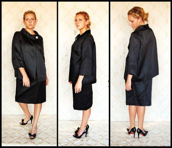 Classic Jackie O' Black Dress Suit by Robert Louis of California, size 10