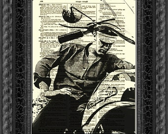 Elvis Presley on a Motorcycle, Dictionary Art Print, Wall Decor, Dictionary Page Art, Art Print, Mixed Media
