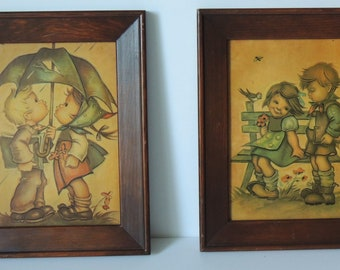 Set of Two Vintage Hummel Style Prints In Wood Frames By Evans