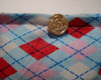 DEMETER Blend Reiki Rest and Relaxation Small Square Herbal Dream Pillow with Pearly Rose Button in Blue Argyle