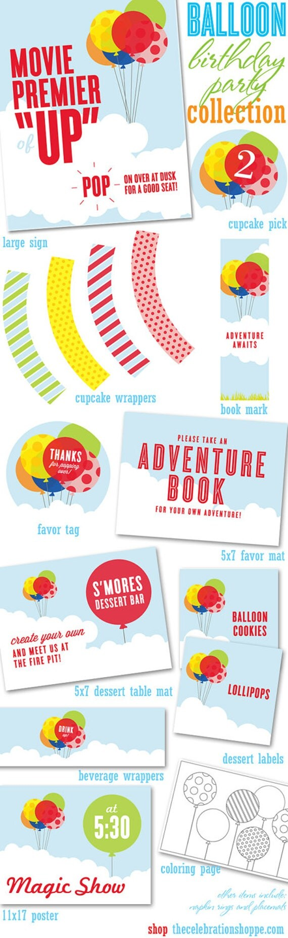 BALLOON Birthday PRINTABLE PARTY Collection from The Celebration Shoppe