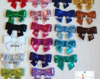 Baby Girls headband, Newborn headband, Petite Sequin Bow U-Pick color, baby sequin bow headbands
