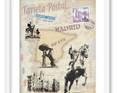 "Madrid - Spain.  Decoration print stylized for post card. 8""x10"" print. - truecolorprints"