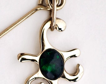 Sea Star Stylized Starfish with Black Opal in Green Blue Handmade in White Gold