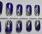 Purple & Zebra Print Design False Nail Set