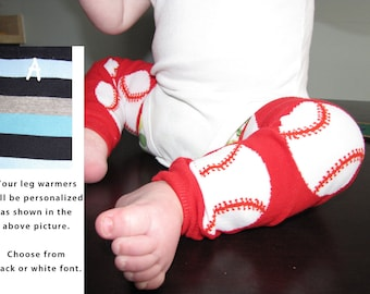 BASEBALL baby leg warmers.  Great for babies, toddlers, and young kids