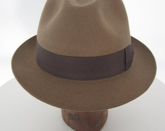 Wool Felt Trilby, Classic Hat, Fedora style, Tan