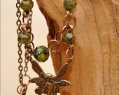 Fairy Necklace - fay, pendant, filigree, czech glass, bronze, copper, green, moss-green, handmade, metal