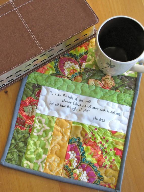 John 8:12 scripture mini quilt, quilted mug rug