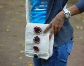 Felted bag Knitting felted bag Felt purse White felted bag