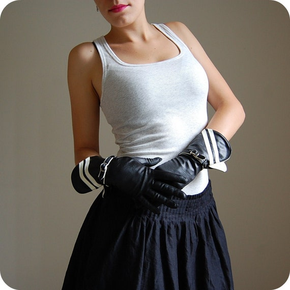 The Three Musketeers...vintage two tone black and white gloves with buckle straps
