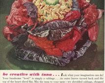 HELLMANN'S Mayonnaise Original 1961 Vintage Ad Color Photo Tuna Salad Cabbage Bowl