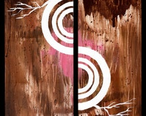 Torn Apart- Original Acrylic Abstact Painting, Brown and Pink (Painting No. N007)