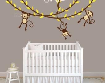Hanging Monkeys Wall Decal Monkey Decal Nursery Wall Decals - Nursery wall decals gender neutral