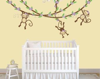 Hanging Monkey Wall Decal, Girl Monkey Vines, Monkey Decal, Nursery Wall Decals, Purple Bliss Design