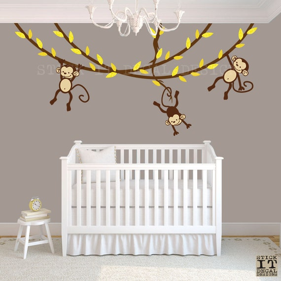 hanging monkey wall decal monkey nursery decor monkey decal. Black Bedroom Furniture Sets. Home Design Ideas