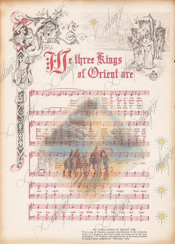 We Three Kings Printable Vintage Christmas Sheet Music