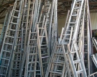 """Antique Wood Ladder with 13 Rungs - 156"""" long - Choose a Vintage Surface or Pick a Color"""