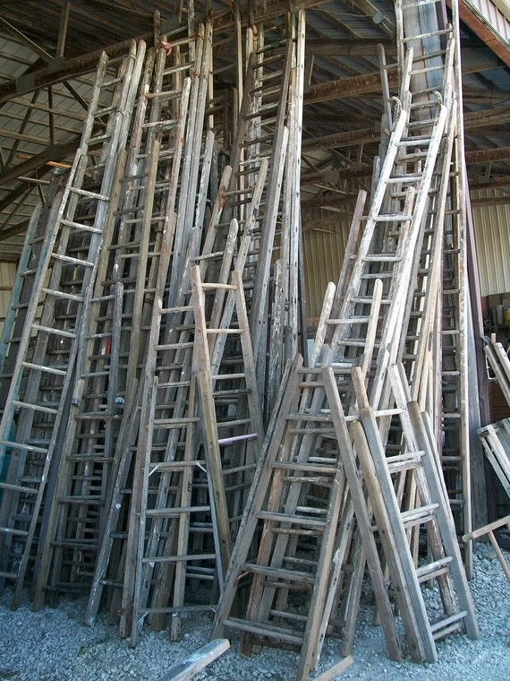Antique Wood Ladder With 13 Rungs 156 Long Choose A