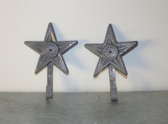 2 Cast Iron Star Hooks Wall Decor Country Chic Decor