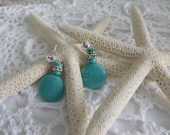 Turquoise Dangle Post Earrings