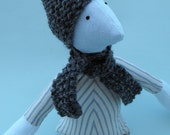 Boys Eco-friendly OOAK Soft Fabric Striped Doll With Grey Hand Knitted Hat and Scarf