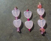 BREAST CANCER AWARENESS Lots of 3 Rose Quartz Hearts Pedants For Necklaces