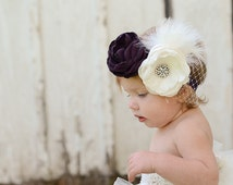 Flower Girl Headband, Cream, Plum, Rhinestone Brooches, Russian Veil, Feathers
