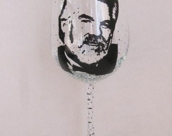 Hand Painted Wine Glass - KENNY ROGERS