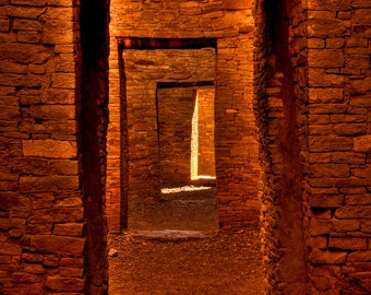 Doorways, Chaco Canyon, Travel Photography, Fine Art Print, New Mexico, Golden Brown, Spiritual Journey, Light, Mystical, Portal, Zen Decor
