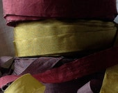 pretty crinkled moss olive green or pretty plum or deep red burgundy ribbon